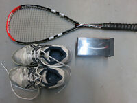 Squash racquet, shoes and glasses