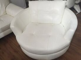 White Leather 360 degree Swivel Arm Chair - DFS