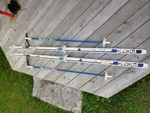 80s Adult Cross Country Skis and Poles, good condition