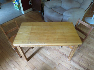 Antique School desk and 2 chairs table