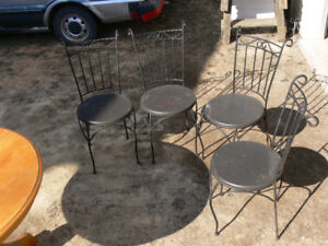 Wrought Iron Chairs - 4 Used Bistro