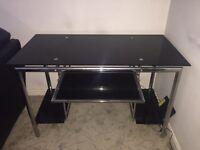 Large Black Glass Desk