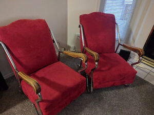 Vintage Red Fabric Lounge Chairs