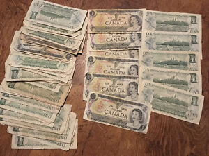LEGITIMATE OLD CANADIAN $1 & $2 BILLS, PLEASE CONTACT FOR INFO