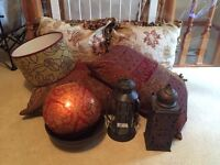 Soft Furnishings (cushions, vase, light shade, lanterns/candle holders) Moroccan style