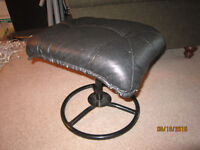 Black Leather Foot Stool For Sale