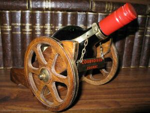 1980's Collectable Courvoisier with Wood-Brass Cannon