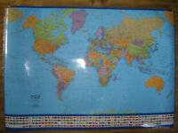 2 laminated wall maps for sale