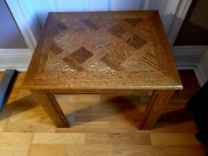 Square, wooden coffee table