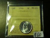 Canada Monnaie 5¢ 1944 Ms-65 Iccs À Rabais! Laval / North Shore Greater Montréal Preview