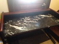 Real wood and marble desk