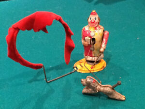 Rare Vintage 1950's TPS Wind-up Clown and trick dog