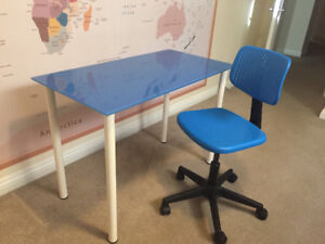 Ikea glass top  desk and matching chair