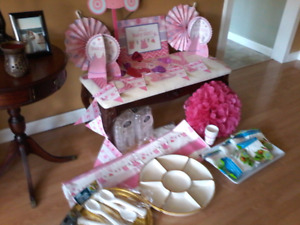 Baby girl shower decorations and serving dishes