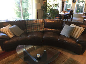 Chocolate brown genuine leather curved sectional
