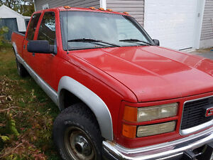1996 GMC Sierra 3500 Red and Grey Pickup Truck
