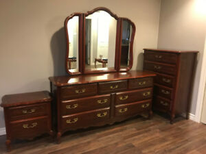 Bedroom Set - double dresser, tall dresser and night stand