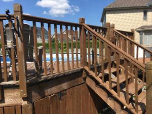 Rampes pour terrasse en bois traité