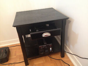 Winsome Wood End Table with Drawer and Shelf, Black -