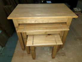 A new stylish nest of three pine tables.