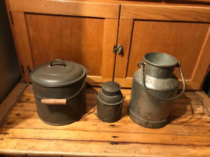 Antique pails and milk can