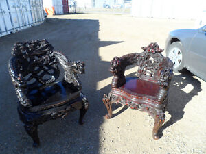 Antique Hand Carved Dragon Chairs Circa 1880's