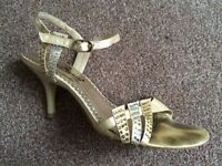 Anne Michelle Gold Slingbacks Size 3 UK