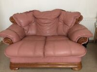 Soft pink Leather two seater sofa