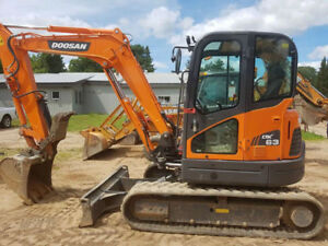 2014 Doosan DX63-3 Compact Excavator LOW HOURS