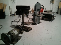 table press drill+band saw+small table saw+grinder bench
