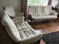 Ercol 3 piece Suite 3 seater Sofa 2 Seater Settee and Chair