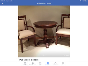 Cozy wee pub table + 2 matching chairs