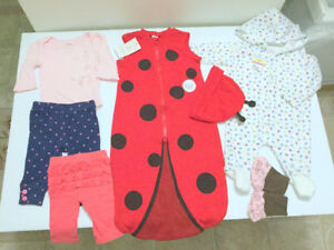 Baby Girl (0-3 m.) NEW SleepSack, GAP Bodysuit, Free Socks
