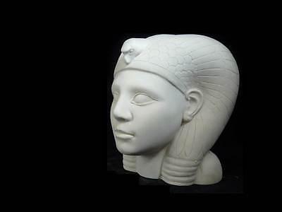 copia de un egipcio cabeza Escultura Arte Figura Blanco yeso Busto NUEVO