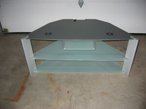 SONY SILVER GREY TEMPERED GLASS TV STAND