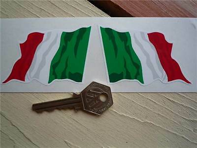 "ITALIAN Wavy Flag Car STICKERS 3"" Pair Italy Italia Tricolore Bike Race Rally"