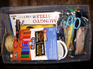 Box of various crafting, scrap booking supplies