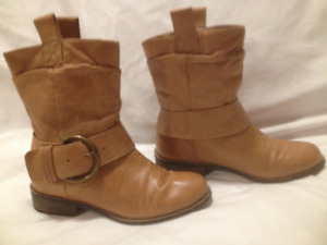 Steve Madden Tan Leather Short Moto Boots 37M