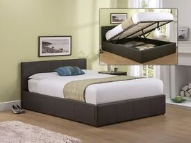 FREE FAST DELIVERY!! KING SIZE OTTOMAN STORAGE BED FRAME BLACK / BROWN