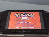 PSP with games (Pokemon Gold, Mario Kart, Sonic)