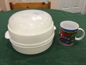 Household Plastic Round 2-tier Microwave Steamer Cooker