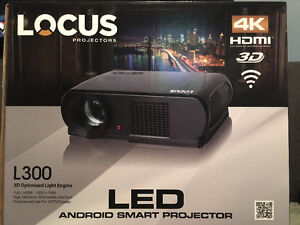 NEW Locus L300 LED 4K Ultra HD 3D Projector with Screen
