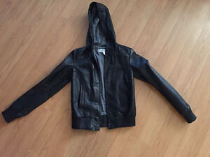 Woman's leather jacket with hood