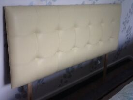 Cream Faux Leather Headboard - double bed