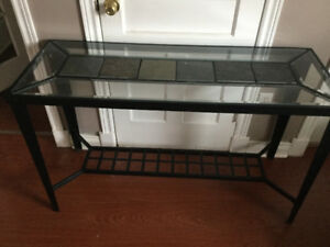 Glass couch table with slat inserts