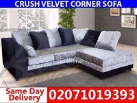 Silver/Black Cruch Velvet Corner Sofa--Order Now!