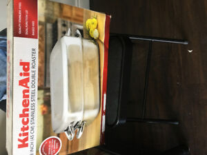 *NEVER USED* 18 inch KitchenAid stainless steel double roaster.