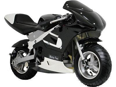Mototec Gas Pocket Bike Mini Air Cooled Motorcycle Ages 13  Black