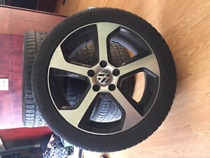 Vw rim and wheel set with full set of winter tires