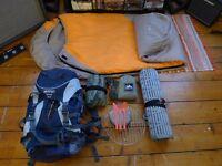 Complete Camping/Bushcraft kit - Trangia cooker/Vango rucksack/Goose down bag & Hammock/Tarp etc